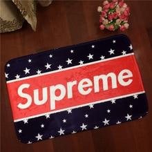Marca europea de moda estadounidense logo supremo franela mat carpet suelo antideslizante alfombra alfombra del dormitorio sala de estar 60×90 cm envío libre