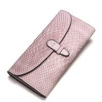 LOEIL Women's wallet crocodile leather clutch bag leather wallet Korean version of snake skin multi piece women's bag