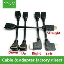 0.1 M 10 CM Yukarı ve Aşağı ve Sağ ve Sol Açı HDMI 1.4 A tipi Erkek Kadın 1.4 v Uzatma konnektör adaptör kablosu hdmi v1.4 Açılı