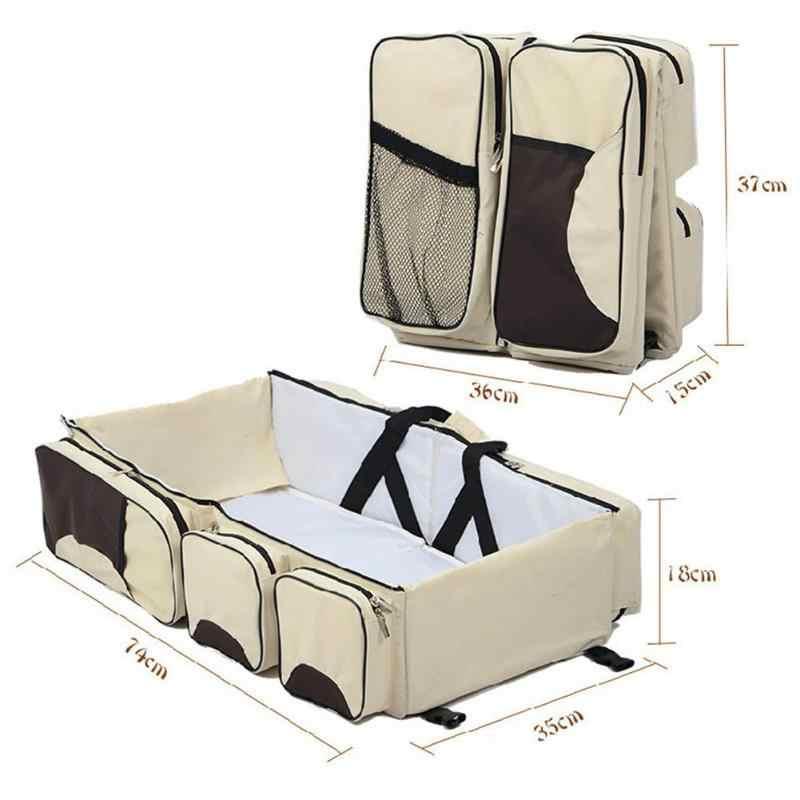 Bolsa de pañales impermeable portátil, cuna plegable para bebé, bolsos para pañales, multifunción, viaje al hombro de la mamá, bolsa de pañales, bolsa de lactancia