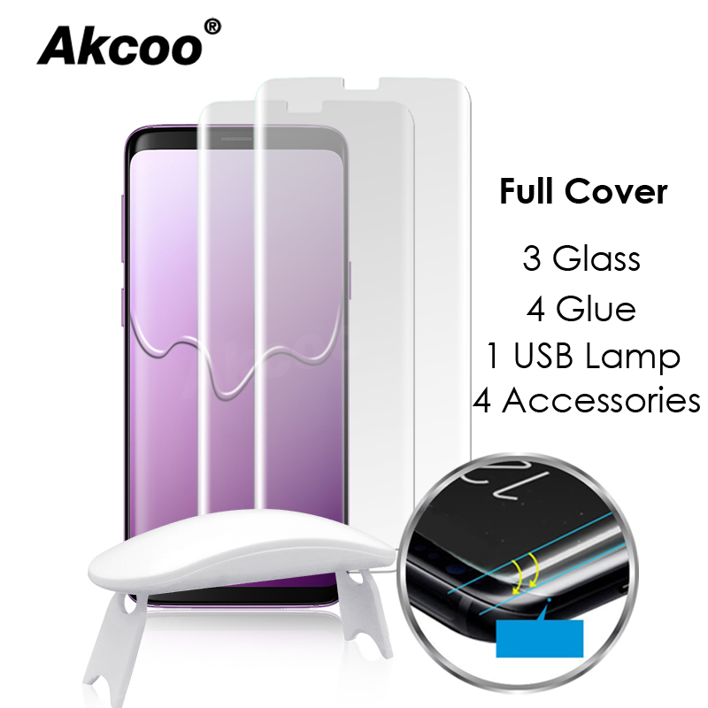 Akcoo Note 9 liquid full glue glass protector with USB UV lamp for Samsung Galax