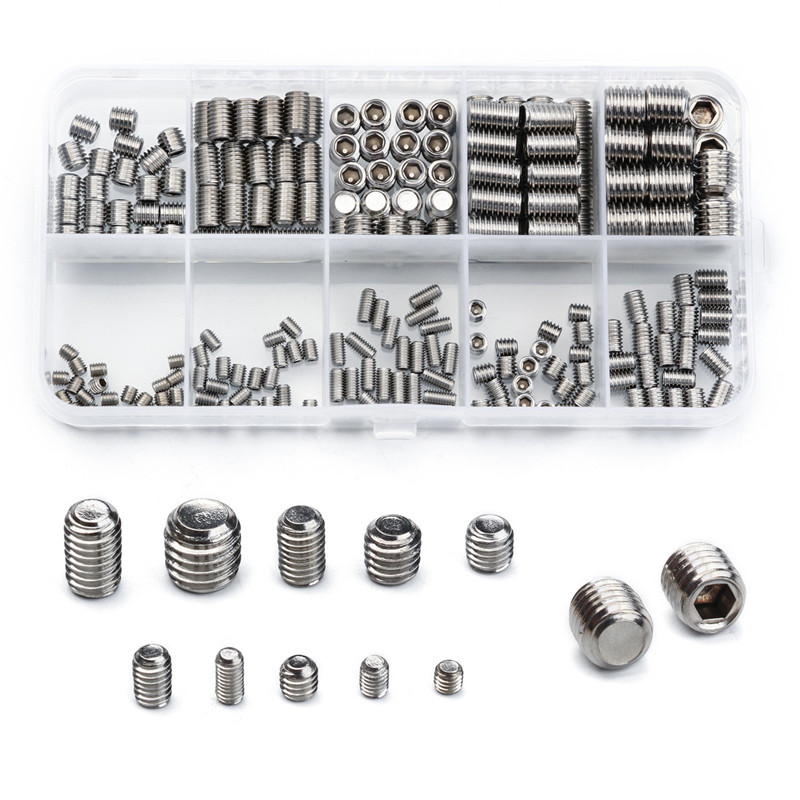 300PCS M3/M4/M5/M6/M8/M10 Stainless Steel Hex Socket Head Set Screw Headless Flat Point Hexagon Socket Screw Bolt Fastener Kit 304 stainless steel set screw black inner hexagon hex socket cup end m top thread headless screw bolt m3 3 4 5 6 8 10 12