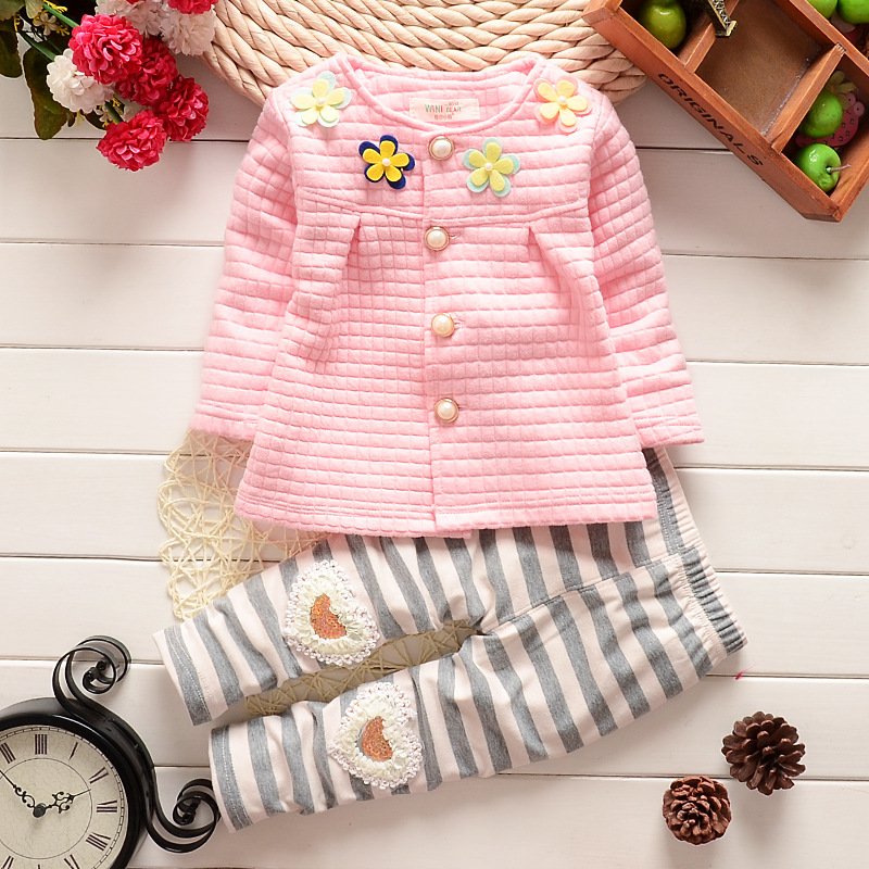 BibiCola Bbaby Girls Clothing Sets Cotton Long Sleeved T-shirt + Pants Flower Cute Suit 2PCS New Arrival Fashion Baby Girls set baby fashion clothing kids girls cowboy suit children girls sports denimclothes letter denim jacket t shirt pants 3pcs set 4 13