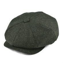 BOTVELA, шерстяная твидовая Кепка Newsboy, шапка в елочку для мужчин и женщин, Классическая Ретро шапка с мягкой подкладкой, Кепка для водителя, черная, коричневая, зеленая, 005