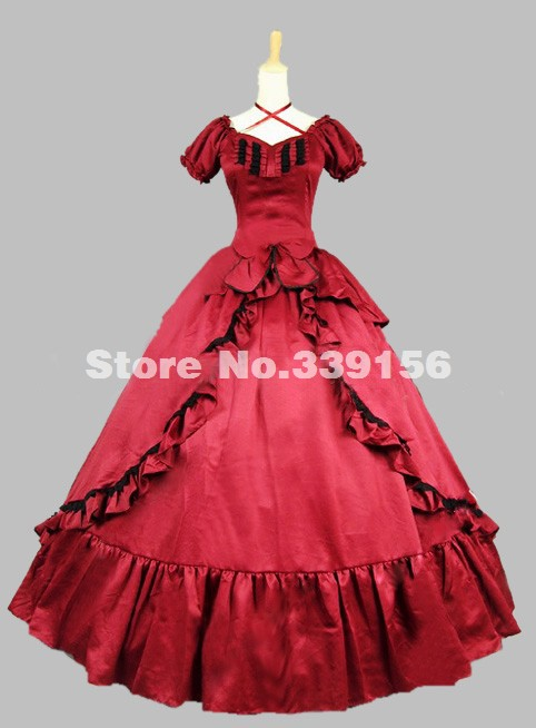 Brand New Red Satin Long Victorian Vampire Dress Southern Belle Medieval Renaissace Period Dress Ball Gown Party Dress Costume