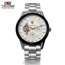 casual men's watch automatic mechanical steel tourbillon luxury brand tevise waterproof male clocks wrist watch relogio hommer