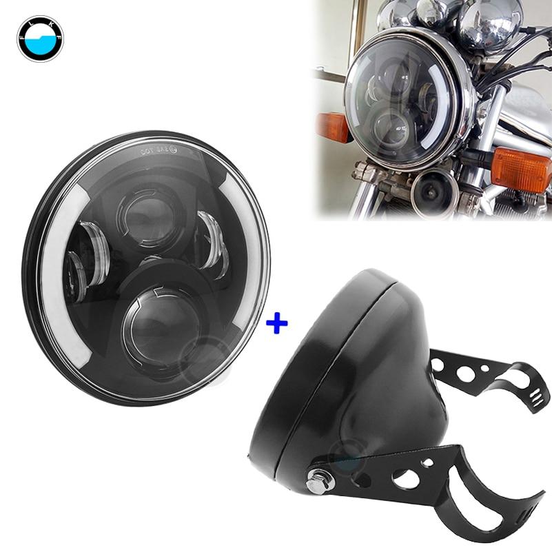 7 Inch  60W DOT SAE E9 Motorcycle Headlamp  With Angle Eye Led  Headlight  7inch Housing Bucket Trim Ring.