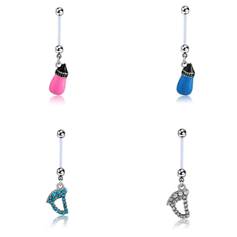 Small Feet Acrylic Flexible Pregnancy Belly Button Ring Navel Bar Piercing Body Jewelry Fashion New Blue Bottle Pendant
