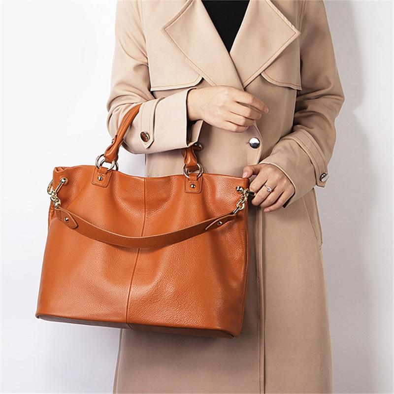 Nesitu Hohe Qualität Schwarz Grau Braun Aus Echtem Leder Frauen Messenger Taschen Schulter Tasche Weibliche Dame Handtaschen A4 Büro Tote M7988-in Taschen mit Griff oben aus Gepäck & Taschen bei  Gruppe 1