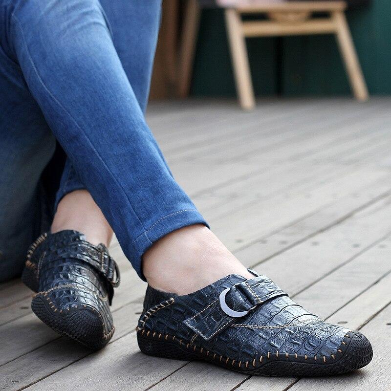 green Mocassins Couro Casuais Sapatos brown Padrão Homens Blue F Marca Sobre Nova De Deslizar Crocodilo 6qBEZ1