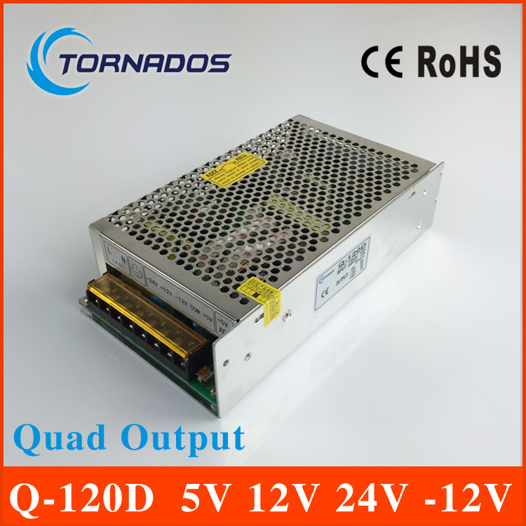 quad output switching power supply 120W 5V 12V 24V -12V power suply Q-120D ac dc converter q 120d ce power supply 5v 12v 24v 12v quad output 120w switching power supply