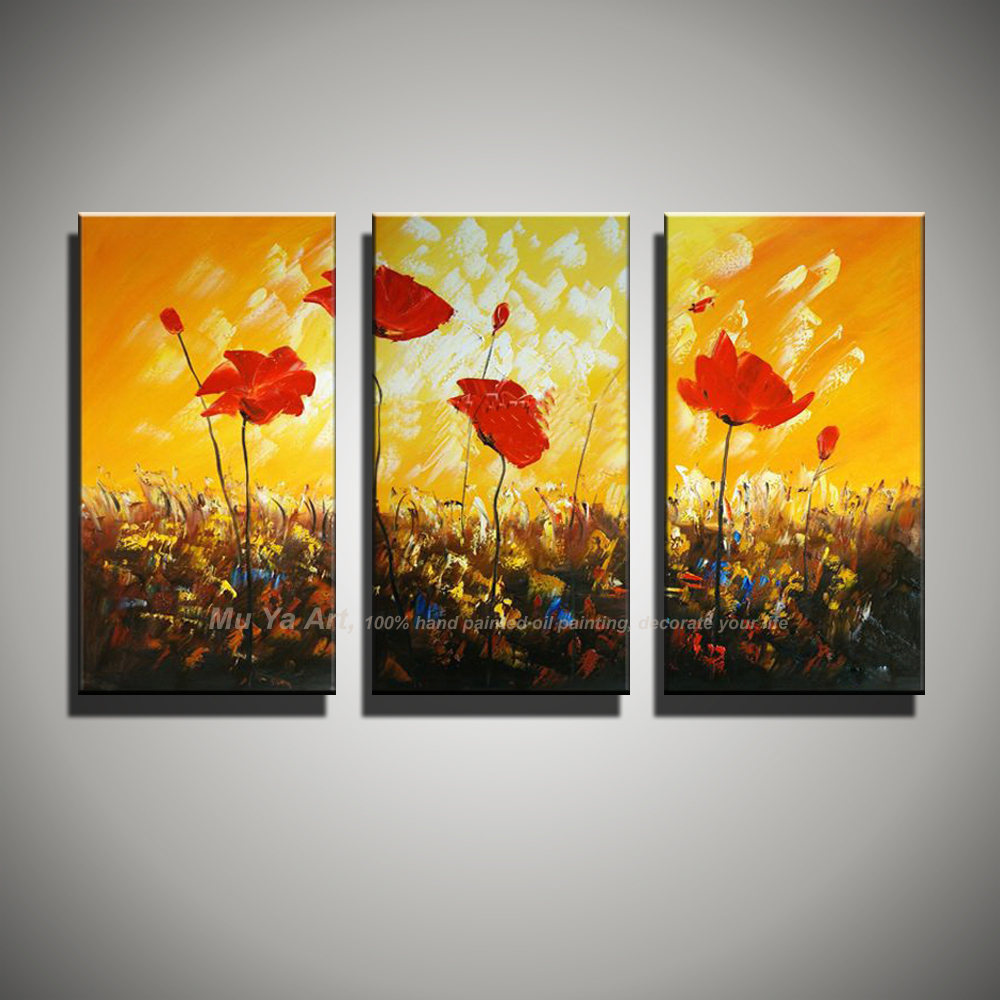 3 panel wall art Abstract unframed poppy handmade red flower acrylic ...