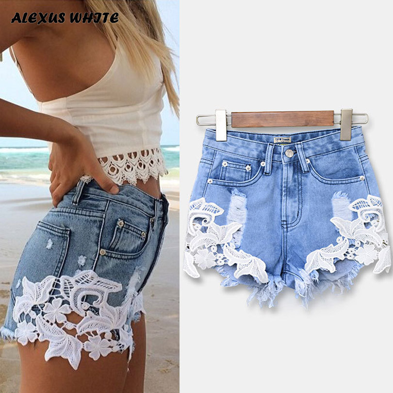 High Waist Lace Hot   Shorts   2019 Summer Women's Beach Resort Bohemia   Short   Jeans Hole Washed Street Denim   Shorts   Female