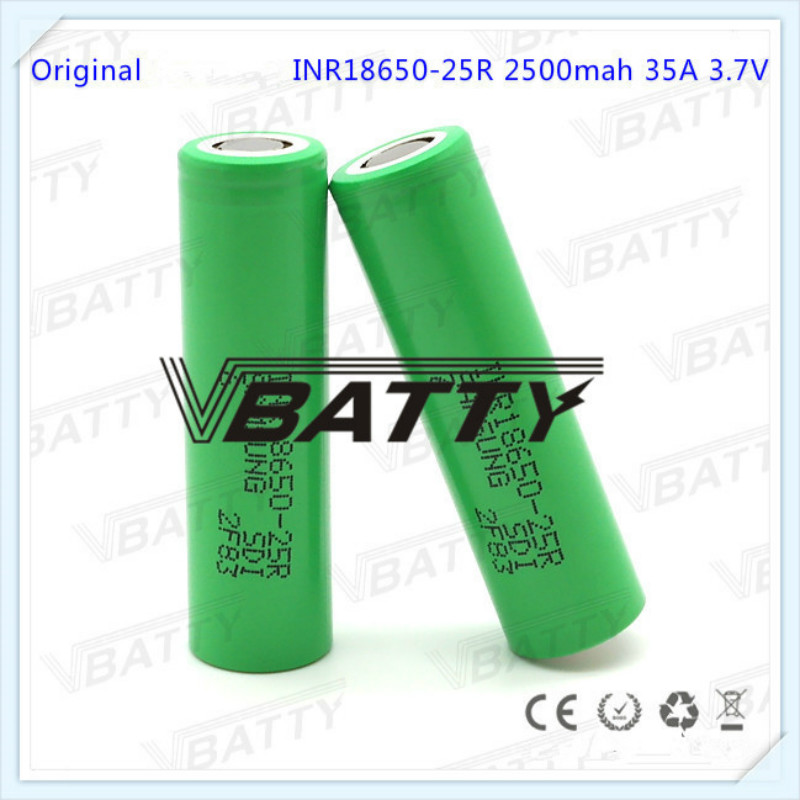 Very Cheap for <font><b>Samsung</b></font> INR18650-<font><b>25R</b></font> 2500mah 35A li-ion battery high drain rechargeable battery for e-cig (1pcs/lot) image