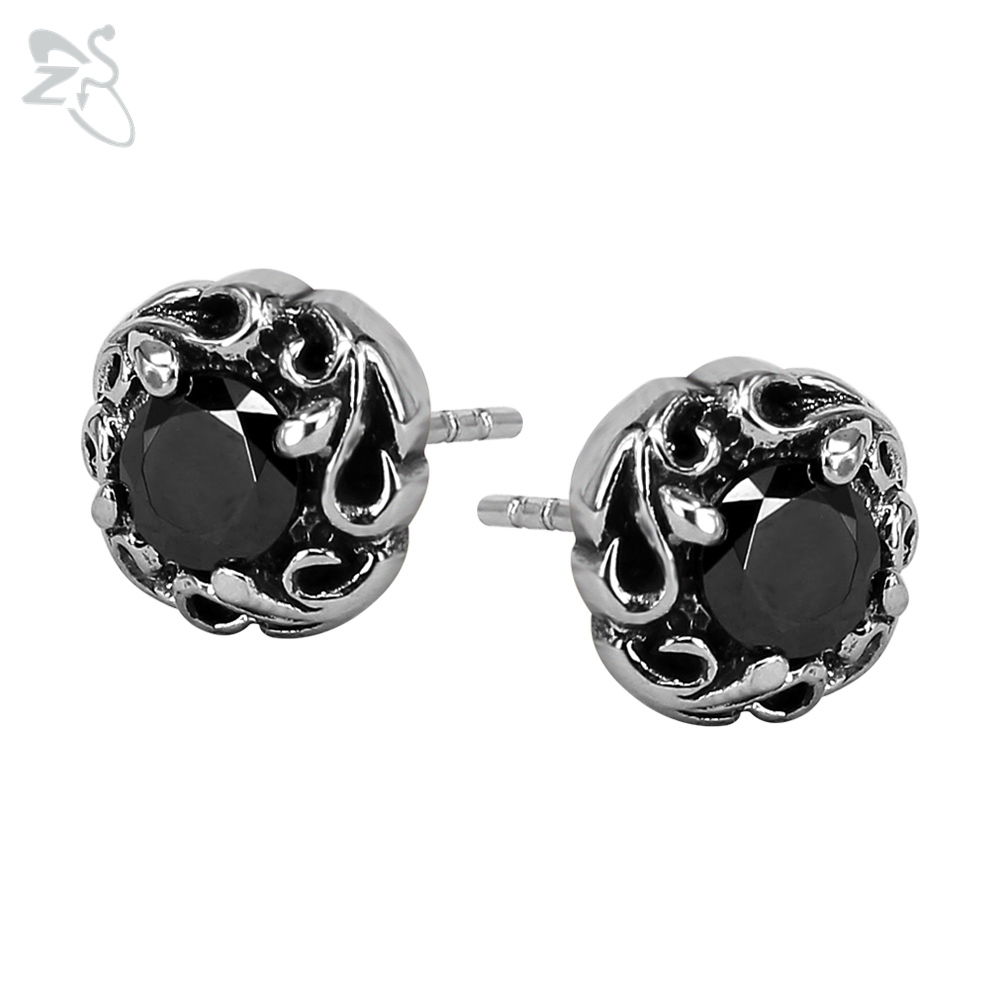 Vintage Style Stud Earrings With Black Stone For Mens Womens Ear Stud Piercing Tragus Stainless Steel Jewelry Pendientes Hombre