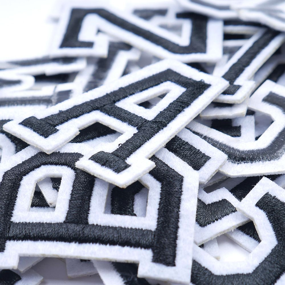 A-Z 1PC pure white English Alphabet Letter Mixed Embroidered Iron On Patch For Clothing Badge Paste For Clothes Bag Pant Sewing