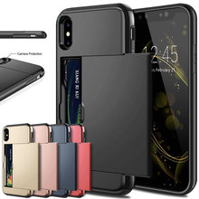 Zakelijke Telefoon Gevallen Voor iPhone X XS Max XR Case Slide Armor Wallet Card Slots Holder Cover voor iPhone 7 8 Plus 6 6s 5 5S SE(China)