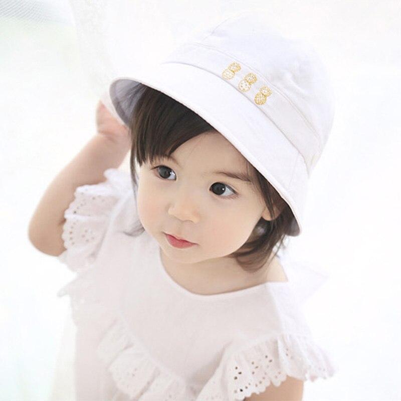 Kids White Blue Sun Hat Summer Cotton Bucket Hat Toddler   Children Girls  Brim Beach Hat With Wide Brim -in Bucket Hats from Apparel Accessories on  ... dc976e9a687