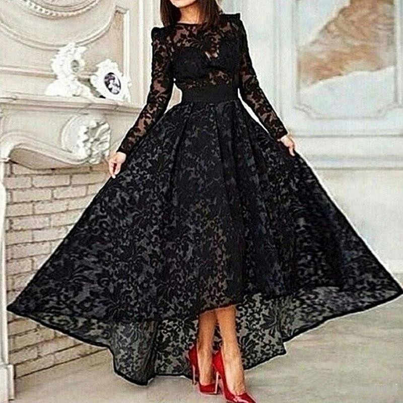 Black Muslim Evening Dresses 2019 A-line Long Sleeves Tea Length Lace Islamic Dubai Saudi Arabic Long Elegant Evening Gown