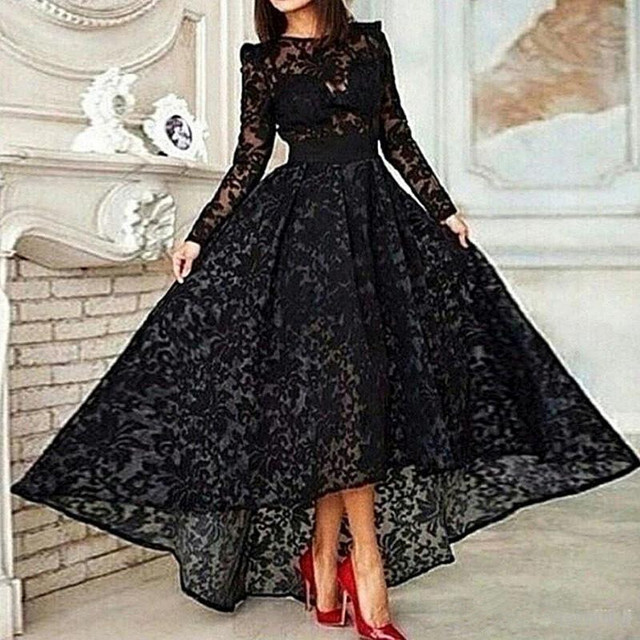 Black Muslim Evening Dresses 2019 A line Long Sleeves Tea Length Lace Islamic Dubai Saudi Arabic