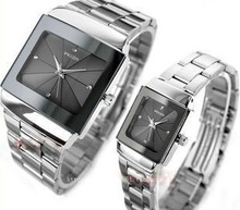 Brand Couple Watches Man Women Full Stainless Steel Square Face Dial Quartz Casual Analog Wrist Watch