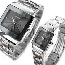 Brand Couple Watches Man Women Full Stainless Steel Square Face Dial Quartz Casu