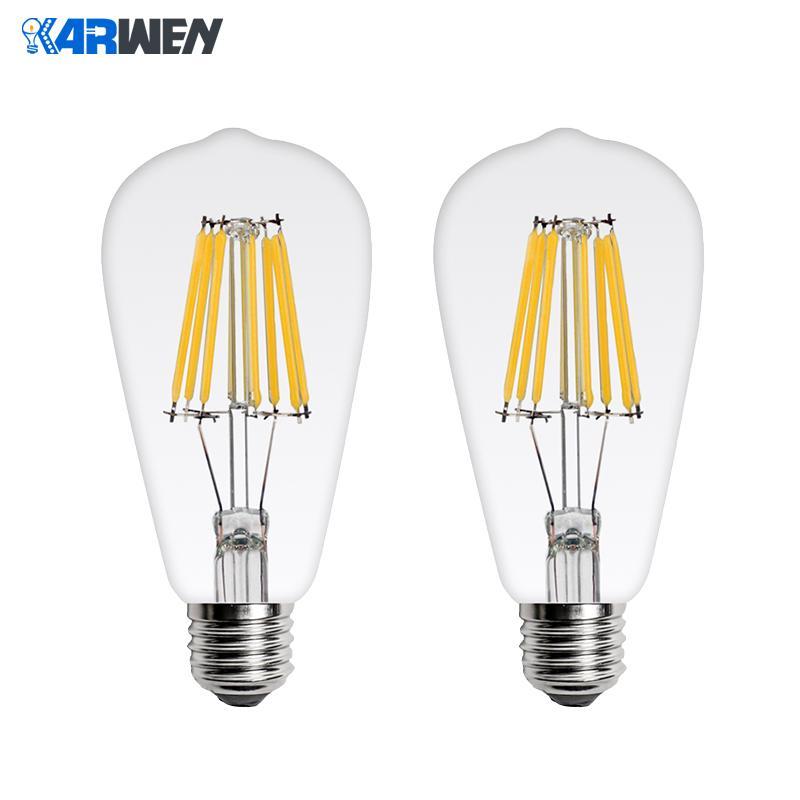 KARWEN LED Bulb Lamp Filament Light ST64  Antique Vintage LED Edison Bulb 2W 4W 6W 8W Glass Ball Bombillas LED Lamp 220V