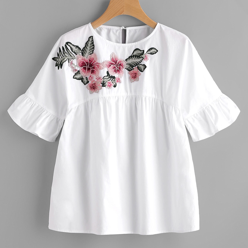 Floral embroidered ruffle sleeve babydoll blouse women