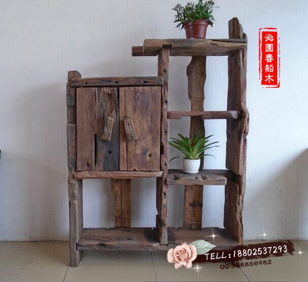 Old Wooden Boat Boat Shelf Original Ecological Wood Curio Weathered Wood  Furniture Shelf Showy Display