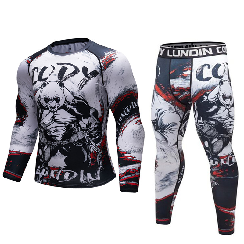 Clearance SaleT-Shirt Men Rashguard Fitness-Tights Exercise MMA Cross-Fit Compression Work-Out Bodybuild