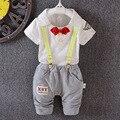 Розничная! Новорожденный костюм детей мальчиков и девочек 100% хлопка футболку + плед костюм и с бантом воротник брюки 2 компл. бесплатная доставка