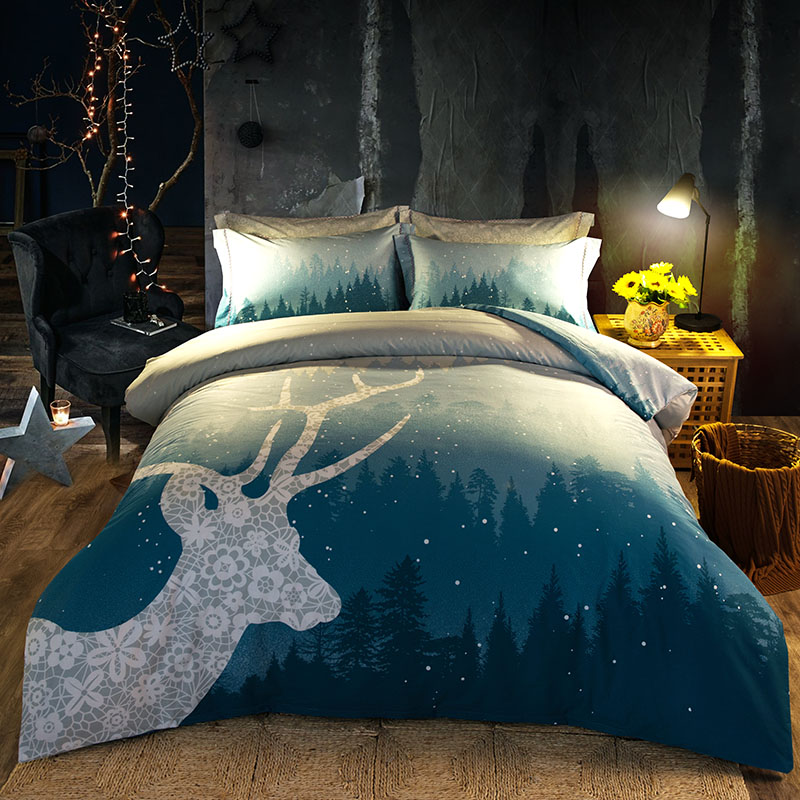 Deer Forest Printed Bedding Set Full Queen King Size Bedspreads Duvet Cover Cotton Woven 600TC Adults Girls Home Fade Blue ColorDeer Forest Printed Bedding Set Full Queen King Size Bedspreads Duvet Cover Cotton Woven 600TC Adults Girls Home Fade Blue Color