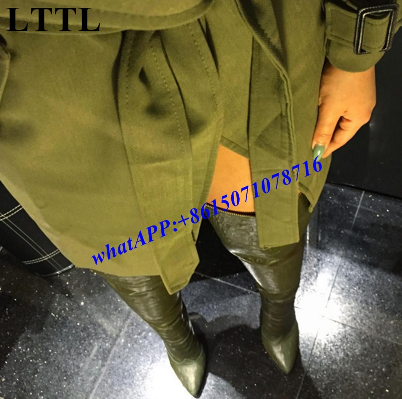 2017 women alligator sexy over the knee high boots crocodile thigh high booties female winter fashion week street boots