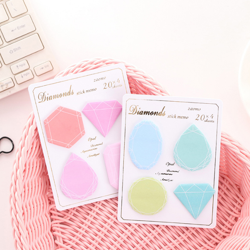 Peerless Hot 30 Pages Diamond Gradient Colors Self-adhesive Memo Pad Sticky Notes Bookmark School Office Supply 85x120 Mm Notebooks & Writing Pads Memo Pads