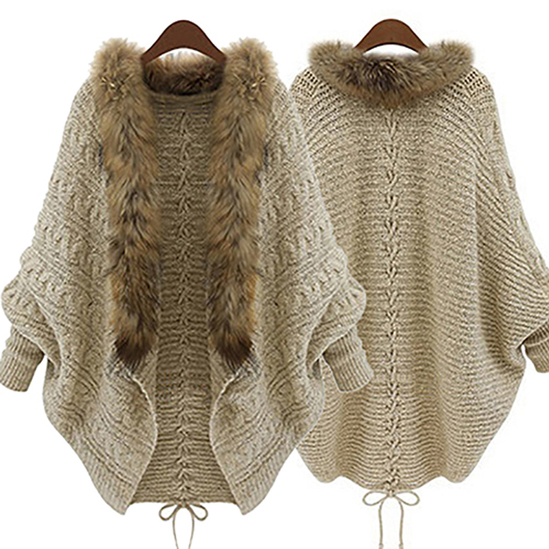 Fashion Women Faux Fur Collar Coat Batwing Sleeve Loose Casual Warm Cardigan Shawl Sweater