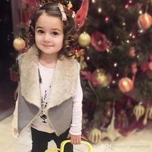 New Toddler Kids Girls Faux Fur Candy Waistcoats Suede Leather Fall Winter Jackets Outwears Western Sweet Kids Clothing