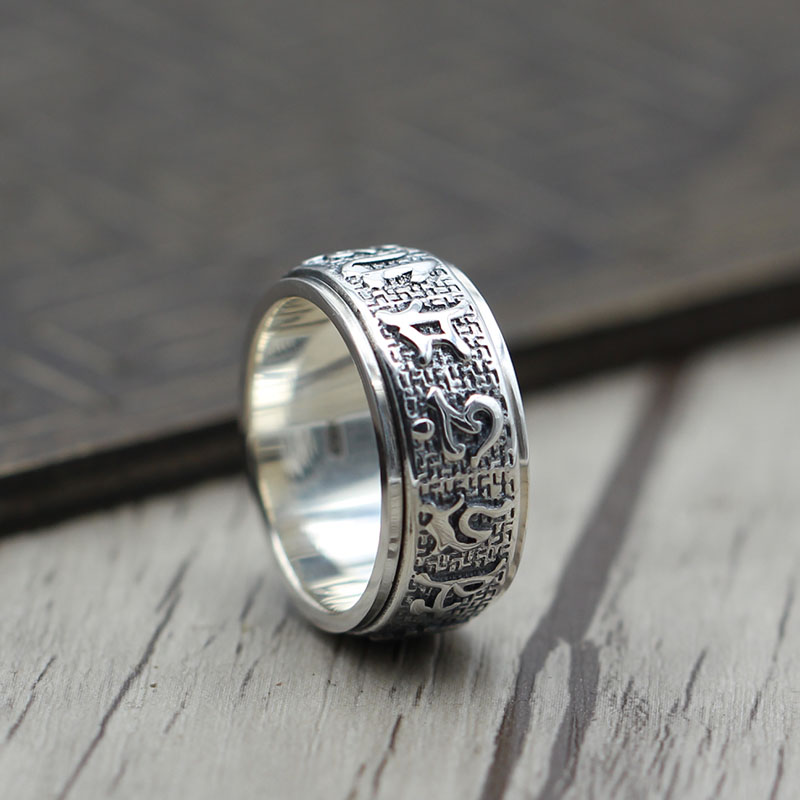 S925 Sterling Silver Vintage six Buddhist mantra rotating personality ring ring and old Thai silver jewelry цена