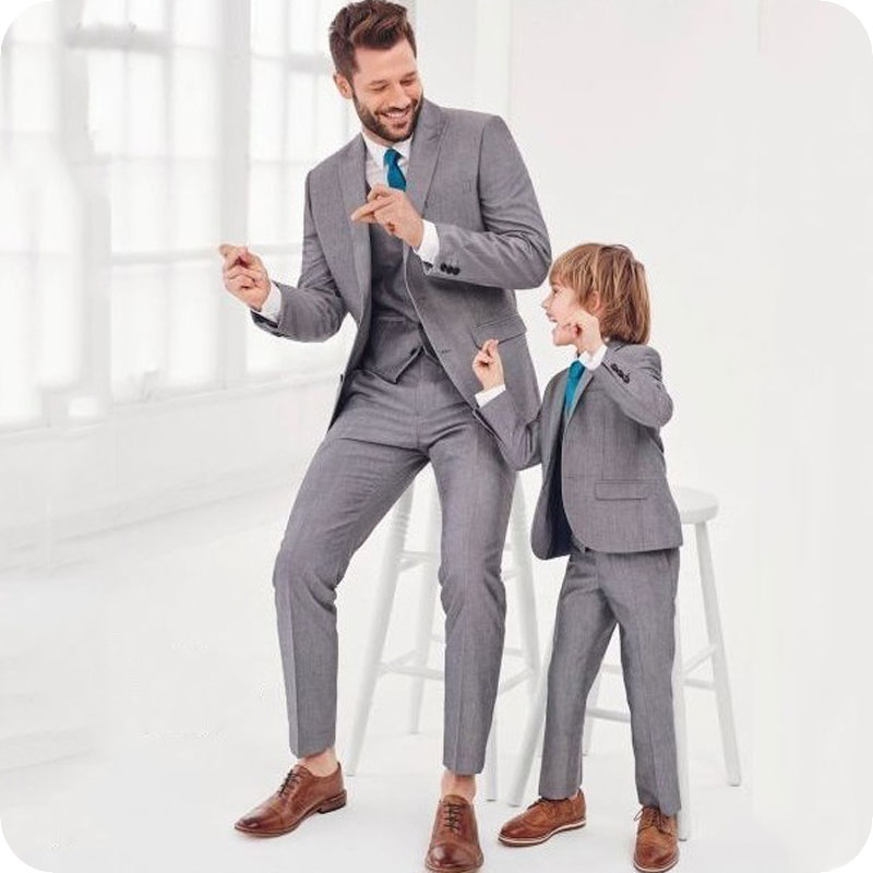 Grey-Father-And-Son-Suits-Fashion-Family-Matching-Suit-Formal-Tuxedo-Groom-Wedding-Suits-For-Men
