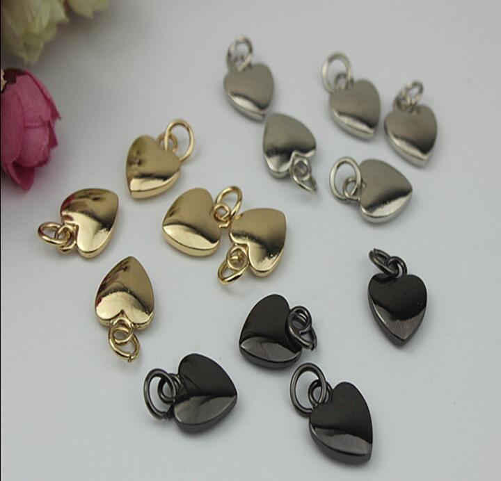 (20 шт./лот) Высококачественный Металлический Покрытие обработки кожаные туфли сумки в форме сердца молния кулон декоративные аксессуары