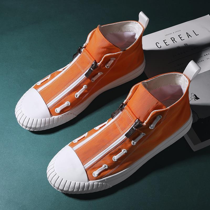 Designer Man Canvas Flats Shoe Mid-Top Zipper Sneakers Men High Quality Fashion Mens Shoes Black Orange Youth Casual