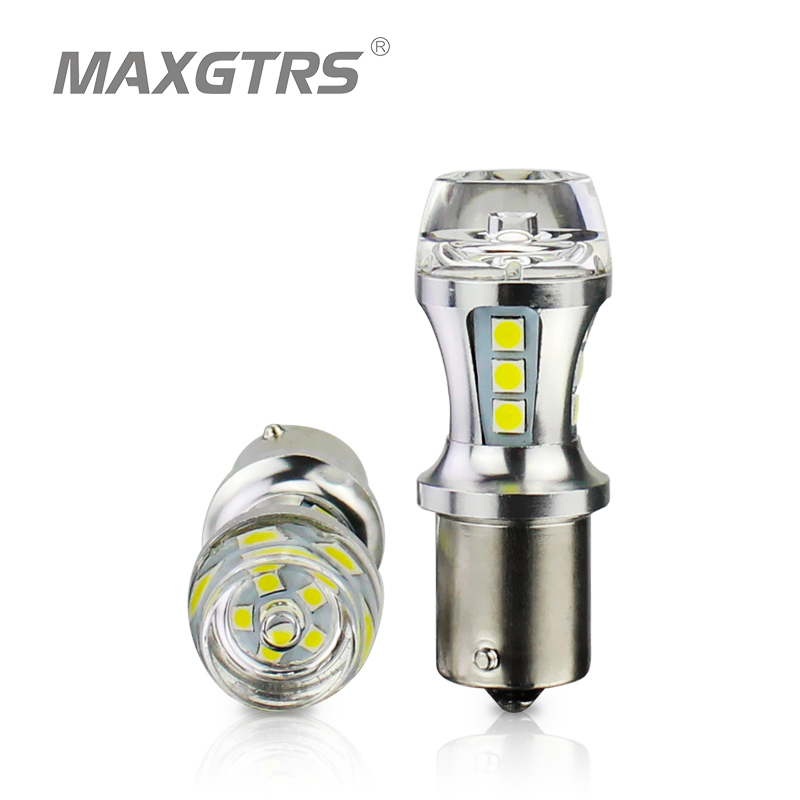 MAXGTRS 2x 1156 LED BA15S P21W S25 18 Led 3030 Chips 6000K White Red Yellow Brake Lights Reverse Lamp DRL Car Tail Bulb LENS 1piece no polarity 10 30v p21w 12w cob chips led 1156 382 ba15s canbus alta potencia drl luz reversa reino unido 720lm