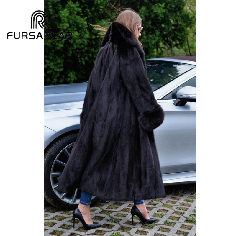 Black Véritable Collar De Long down Avec Fourrure Réel Vison Nouveau Luxe Turn Femmes 2018 Naturel Femelle Style Fursarcar Manteau qxn1SU1