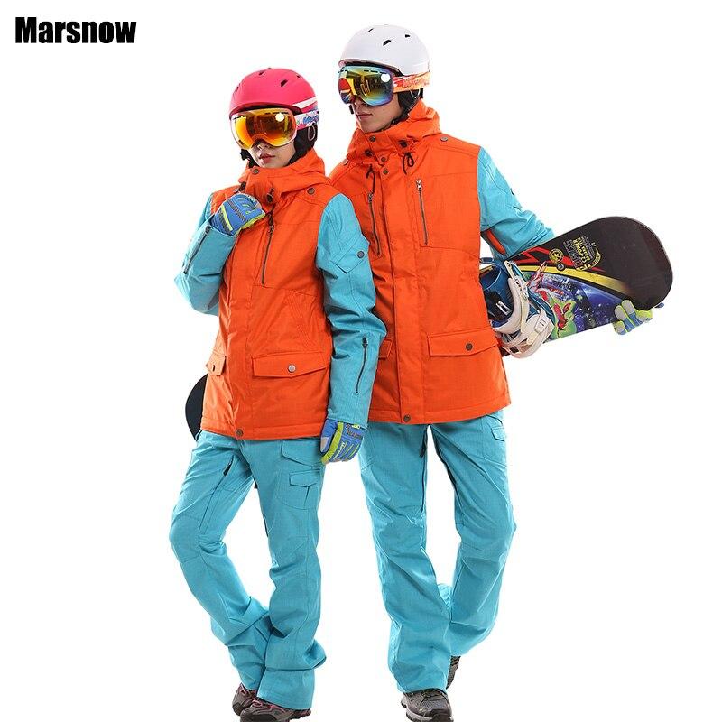 Водонепроницаемый комплект для сноубординга пары ветрозащитный дышащий Лыжный костюм для женщин и мужчин сноуборд куртки горный Лыжная од