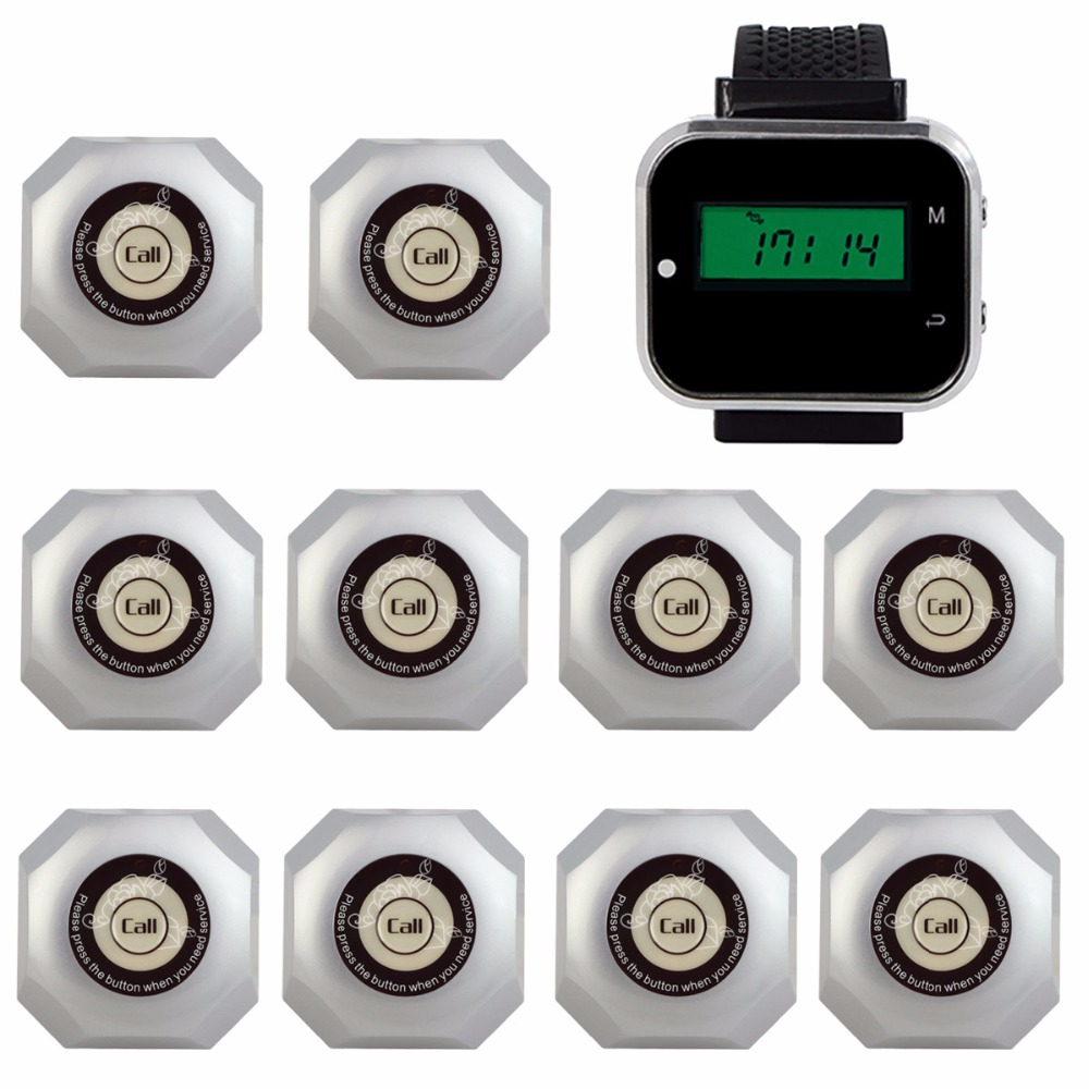 Restaurant Call Button System Wireless Waiter Calling System Catering Equipment 1pc Watch Pager Receiver + 5pcs Call Bell Button недорго, оригинальная цена