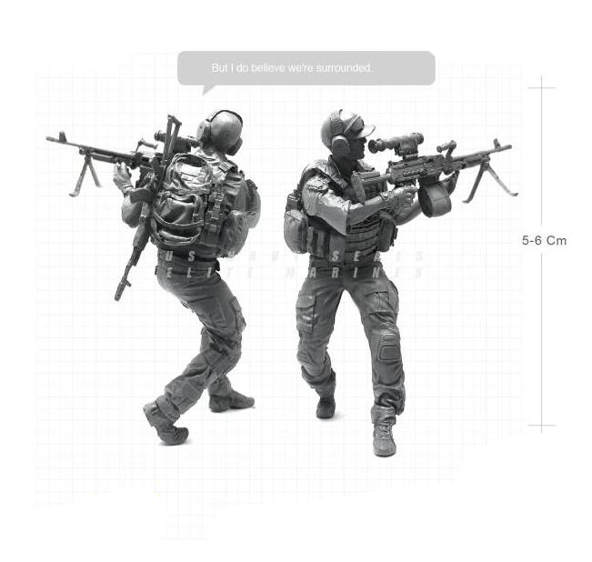 1/35 Modern U.S Navy Elite Marines Machine Gunner Assault Military Soldier Resin Model F ...