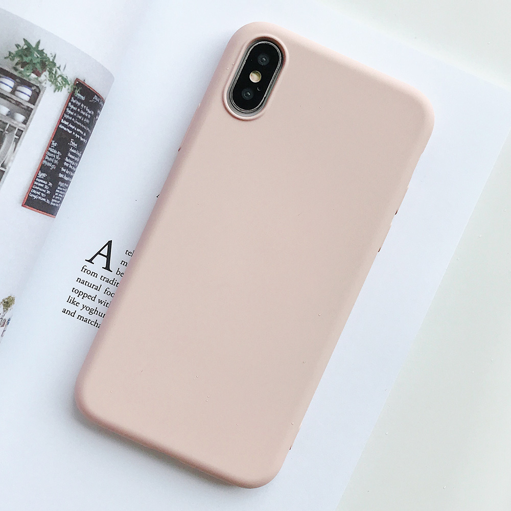 KIPX1124F_1_JONSNOW Pure Color Silicone Case for iPhone XS XR XS Max 6 6S 6P 7 8 Plus Ultra-thin Matte Dirt-resistant Soft TPU Solid Cover