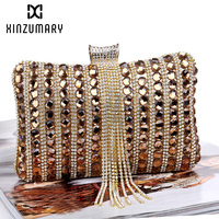 Tassel Diamonds Women Evening Bag Clutch Bags Clutches Wedding Purse Rhinestones Wedding Handbags Silver/Gold/Black Evening Bags