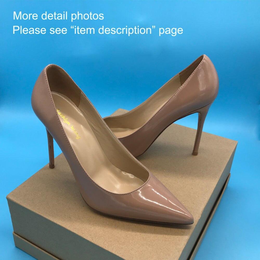 Classic Designer Thin Heel Pointed Toe ปั๊มสำนักงาน Lady 100 มม. รองเท้าส้นสูงรองเท้าหนัง Nude-ใน รองเท้าส้นสูงสตรี จาก รองเท้า บน   1