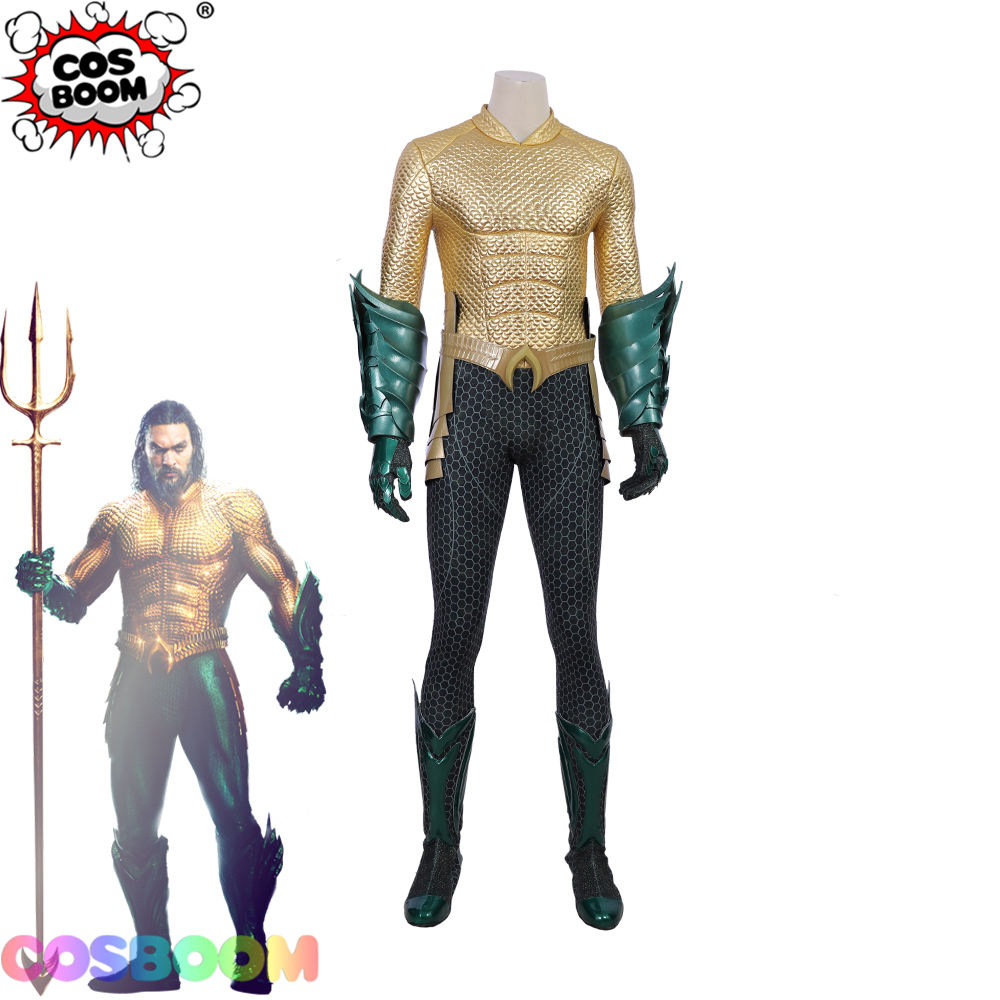 COSBOOM Aquaman Cosplay Costume Adult Men's Halloween Carnival Superhero Aquaman Jumpsuit Arthur Curry Cosplay Costume