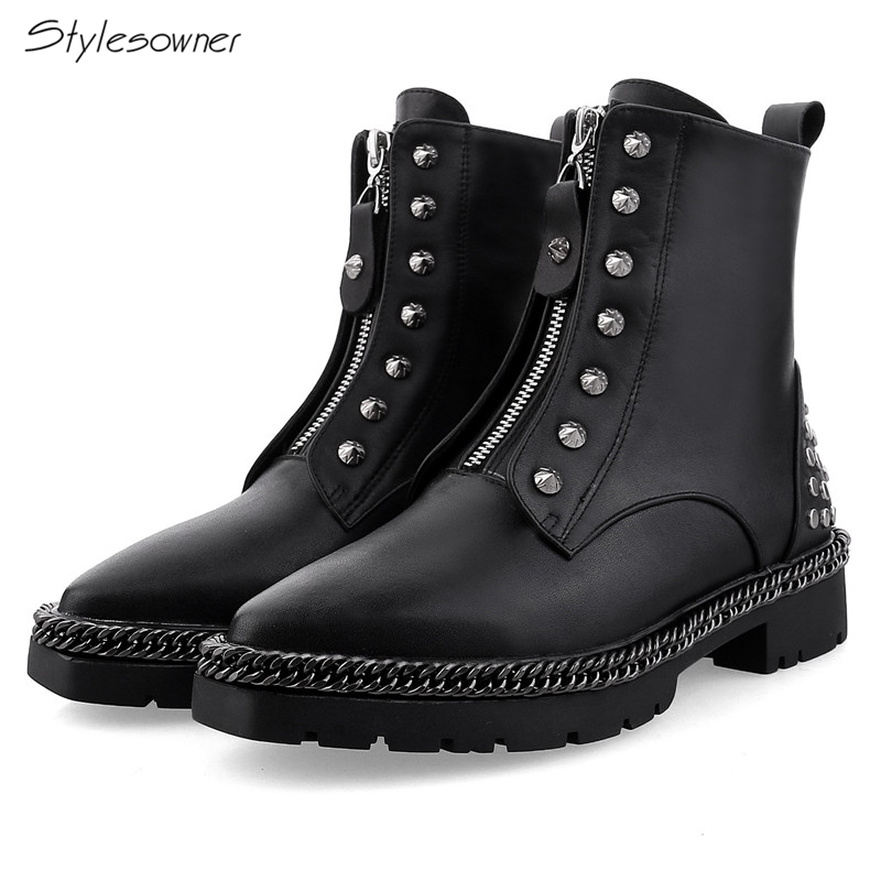 Stylesowner New Chic Metal Chians Chic Women Ankle Black Boots Sexy Rivets Motorcycle Boots Zipper Brand Design Casual LadyBoots chic metal bar and hollow out leg design black sunglasses for women